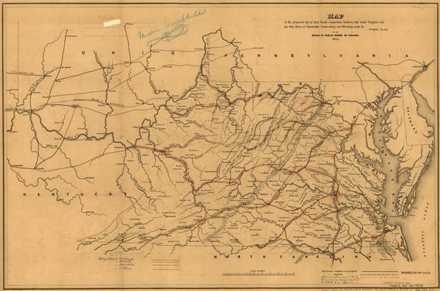 Map of the proposed line of Rail Road connection between tide water Virginia and the Ohio River at Guyandotte, Parkersburg and Wheeling /