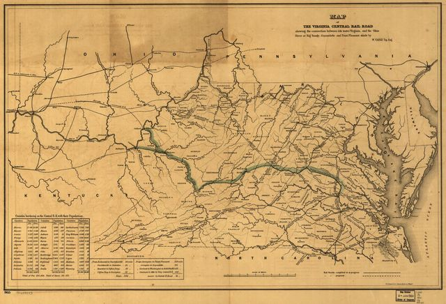 Map of the Virginia Central Rail Road showing the connection between tide water Virginia, and the Ohio River at Big Sandy, Guyandotte and Point Pleasant; made by W. Vaisz Top. Eng.