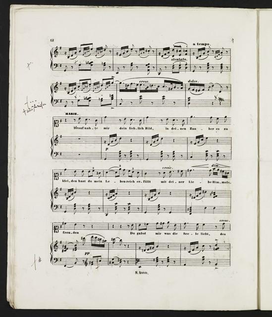 Maria und ihr Genius Cantate zur Feier der silbernen Hochzeit I. K. H. des Prinzen und der Prinzessin Carl von Preussen (am 26. May 1852) / Gedichtet von Goldammer, in Musik gesetz von G. Meyerbeer