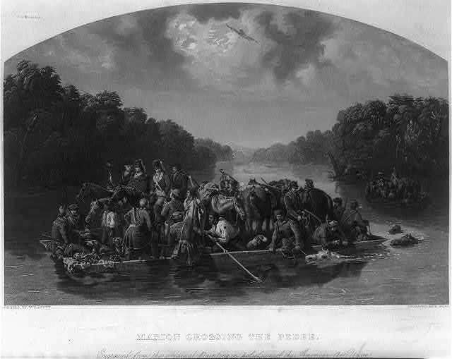 Marion crossing the Pedee / Painted by W. Raney; Engraved by C. Burt.