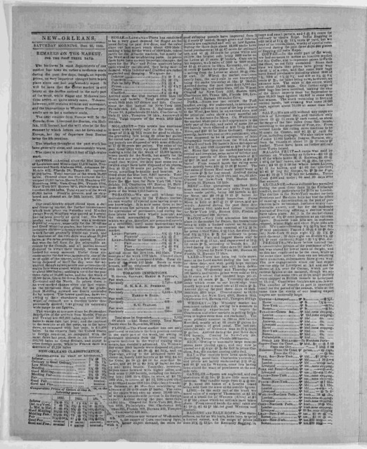 New Orleans price current, commerical intelligencer and merchants' transcript. New Orleans wholesale prices. Saturday, December 25, 1852. [New Orleans] Printed semi-weekly by Cook, Young & Co. [1852].