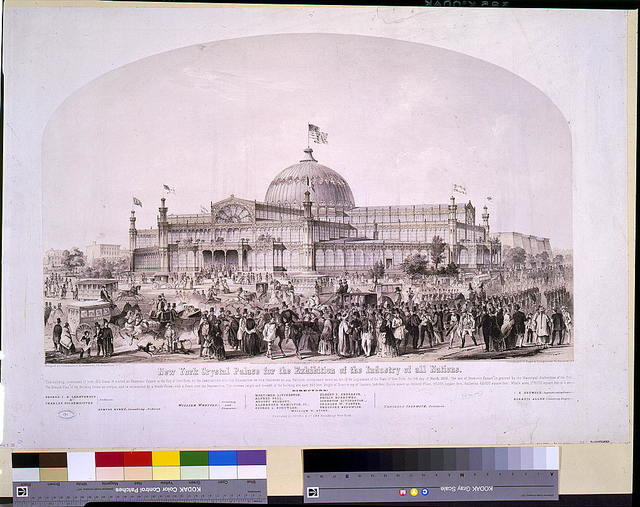 New York Crystal Palace for the exhibition of the industry of all nations / designed by Carstensen & Gildemeister, N.Y. ; lithography of Nagel & Weingärtner, N.Y.; figures by Doepler.