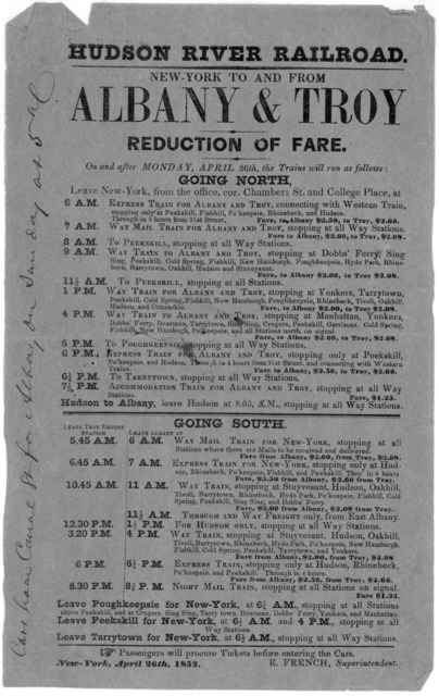 New York to and from Albany & Troy. Reduced fare ... New York, April 26th, 1852.