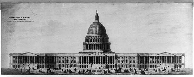 Original design of the new dome on the U.S. Capitol