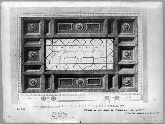 Plan of ceiling of western stairway, south wing