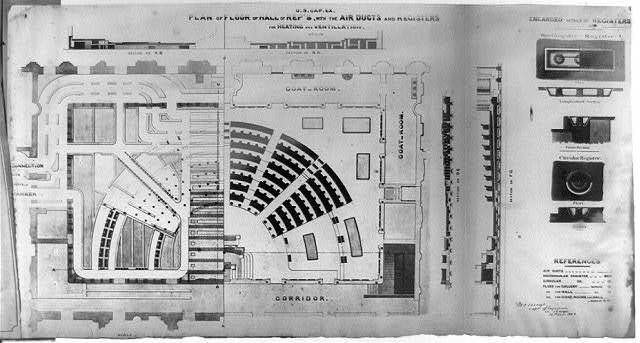 Plan of floor of Hall of Representatives with the air ducts and registers
