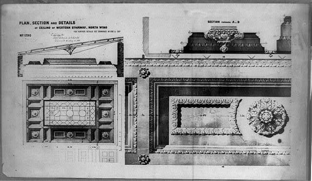 Plan, section and details of ceiling of western stairway, north wing