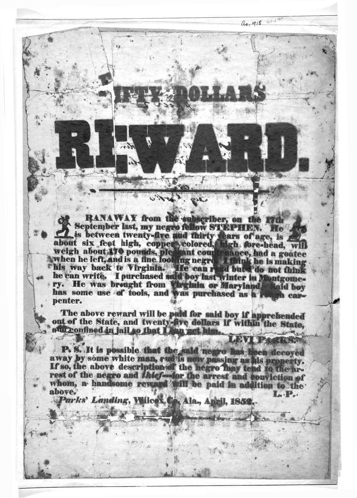 [Poster offering fifty dollars reward for the capture of a runaway slave Stephen.]