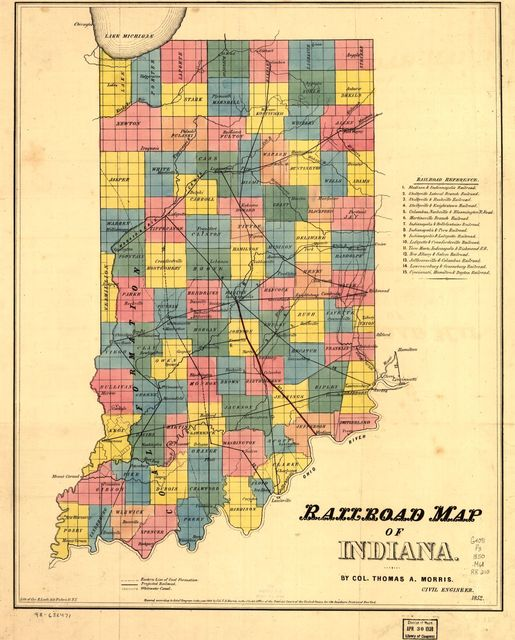 Railroad map of Indiana.