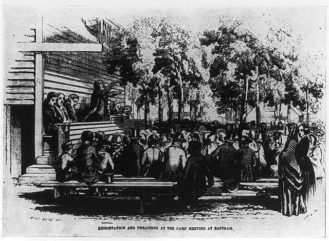 Religious revival meeting at Eastham, Mass., 1852: Exhortation and preaching...