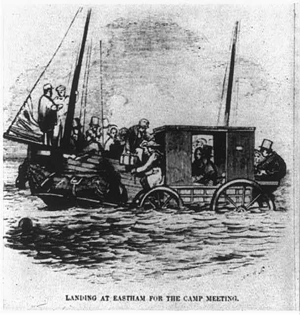 Religious revival meeting at Eastham, Mass., 1852: Landing at Eastham...