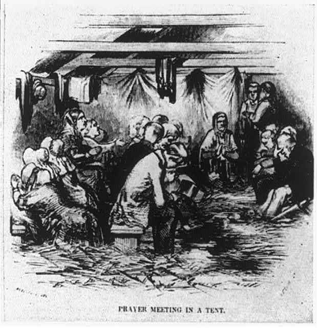 Religious revival meeting at Eastham, Mass., 1852: Prayer meeting in a tent