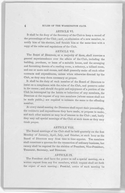 Rules and regulations for the government of the Washington club, adopted June 24, 1852: amended November 11, 1852 ... Washington, D. C. Alexander, printer. 1852.