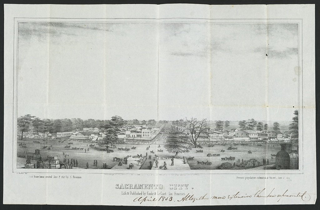 Sacramento ; First frame house erected Jany. 1st, 1849, by S. Brannan ; Present population estimated at 20,000, June 17, 1852 / / J. Britton del ; Lith. & published by Cooke & LeCount, San Francisco.