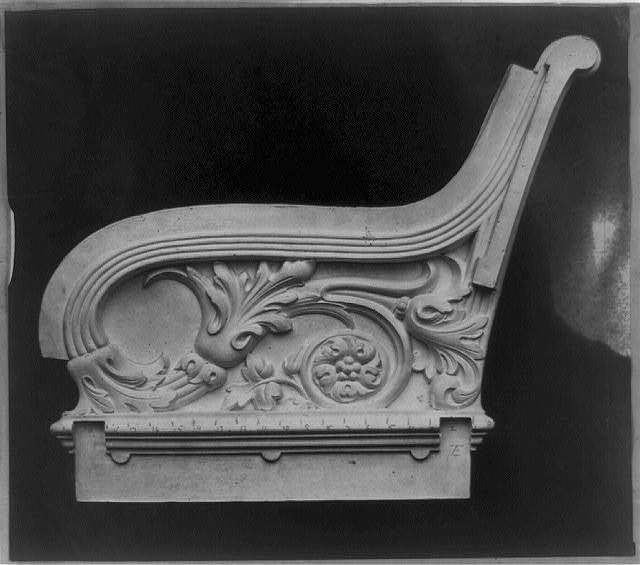 [Side view of relief work of chair or bench]