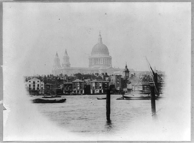 [St. Paul's Cathedral in London, England, viewed from across the river]