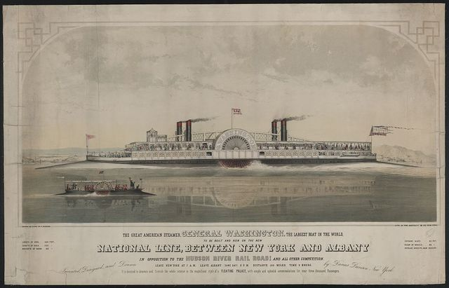 The great American steamer, General Washington, the largest boat in the world to be built and run on the new National Line, between New York and Albany / drawn on stone by C. Parsons ; invented, designed, and drawn by Darius Davison, New York.