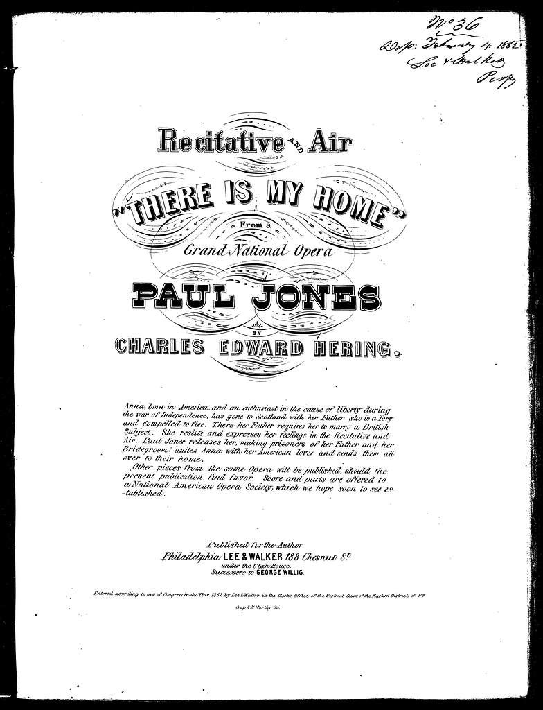 There is my home, recitative and air from the opera Paul Jones