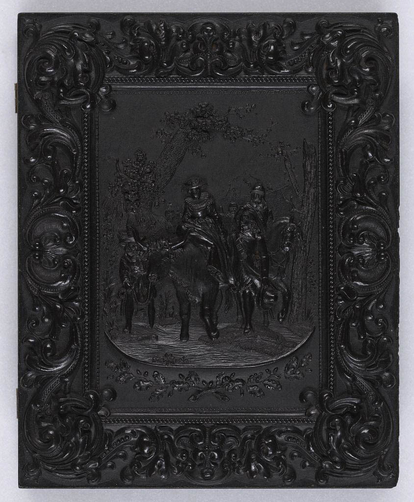 [Union case for daguerreotype, ambrotype, or tintype depicting a wedding procession]