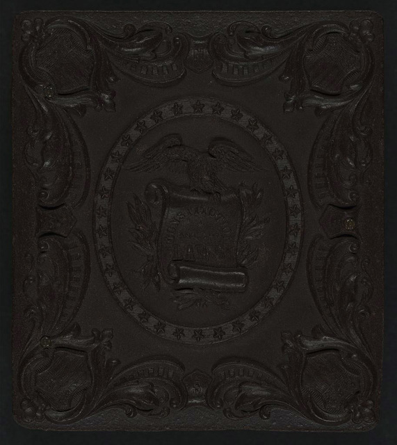 "[Union case for daguerreotype, ambrotype, or tintype showing eagle grasping scroll stating ""Constitution and the Laws"" within patriotic scroll frame]"