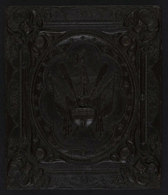 [Union case for daguerreotype, ambrotype, or tintype showing patriotic naval motif within scroll frame]