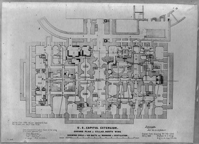 U.S. Capitol extension, ground plan of cellar, north wing