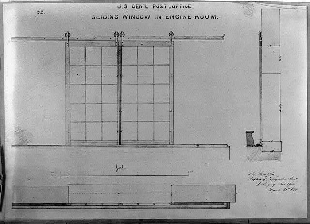 U.S. Gen'l Post Office, sliding window in Engine Room