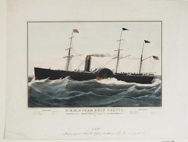 U.S.M. steam ship Baltic. Collins line builders, hull by Brown & Bell N.Y. engines by Allaire Works N.Y.