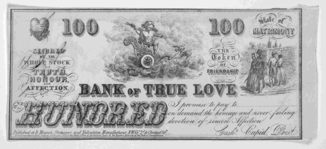 [Valentine in form of a bank note. Philadelphia c. 1852].