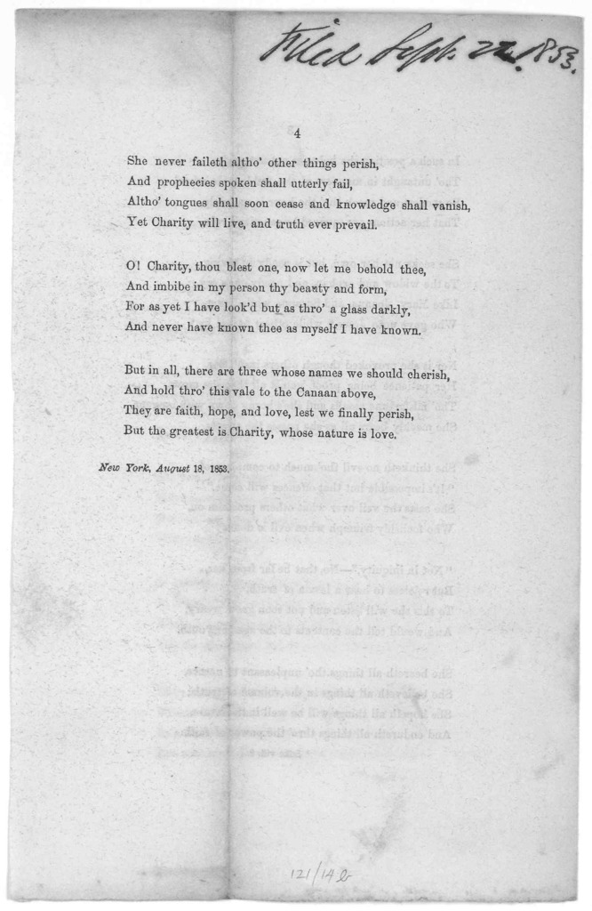 Charity: a poem by John Eyre  New York, August 18, 1853