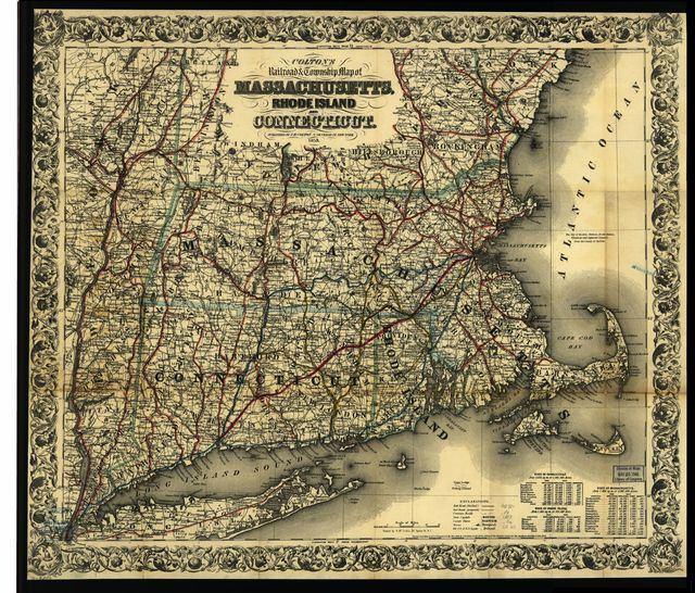 Colton's railroad & township map of Massachusetts, Rhode Island, and Connecticut.