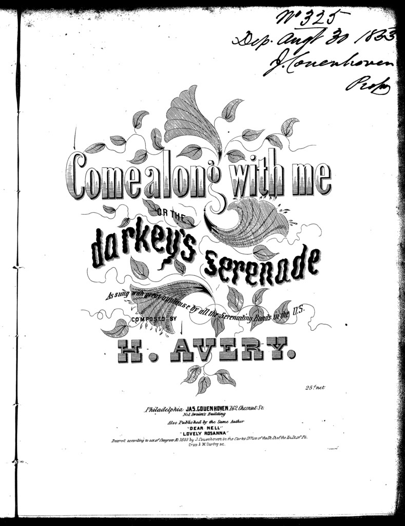 Come along with me, or, The darkies serenade