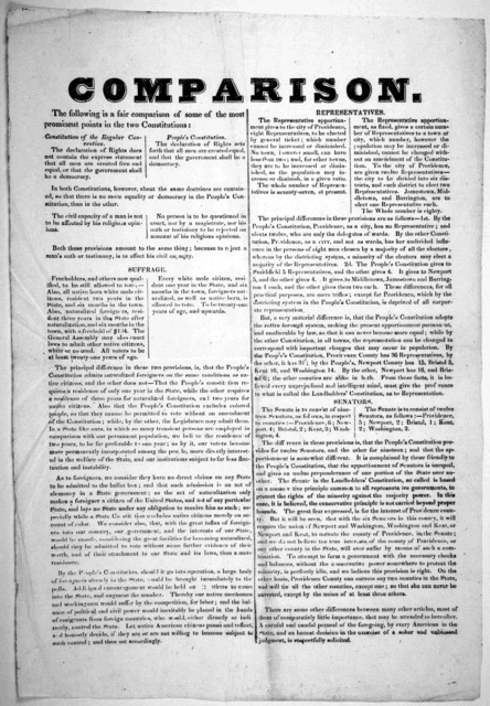 Comparison. The following is a fair comparison of some of the most prominent points in the two constitutions. [1853?].