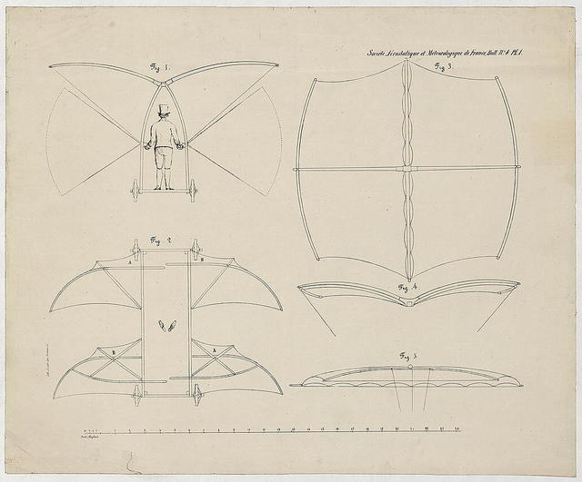 [Design drawing for a man-powered flying machine designed by Sir George Cayley] / Lith. Jolicoeur, pass. Vendome, 25.