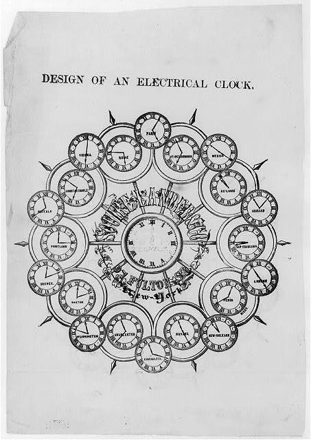 Design of an electrical clock [of Souire Lander & Co. - advertisement]
