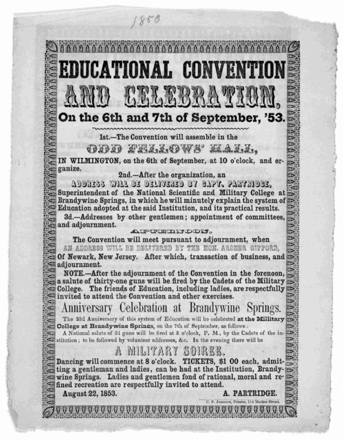 Educational convention and celebration, on the 6th and 7th of September, '53 [Program]. [Wilmington] C. P. Johnson, printer [1853].