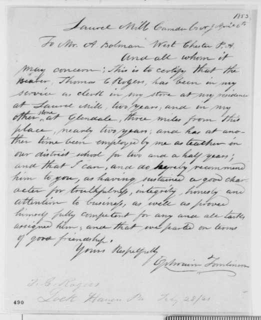 Ephraim Tomlinson to A. Bolman, Wednesday, April 06, 1853  (Recommendation for Thomas Rogers)