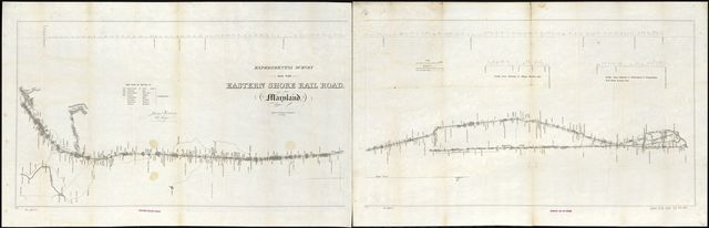 Experimental survey for the Eastern Shore Rail Road, Maryland, drawn by W. H. Emory & J. McClelland Asst. Civ. Engs., made under the direction of James Kearney.