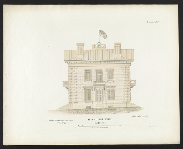 "[Government building (""Custom House and Post Office""), Bath, Maine. End elevation]"