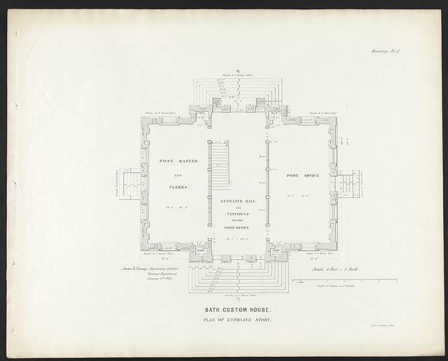"""[Government building (""""Custom House and Post Office""""), Bath, Maine. Entrance story plan]"""
