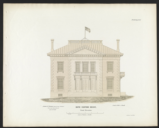 "[Government building (""Custom House and Post Office""), Bath, Maine. Front elevation]"