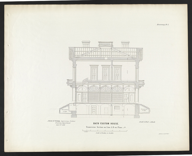 "[Government building (""Custom House and Post Office""), Bath, Maine. Transverse section on line A-B]"