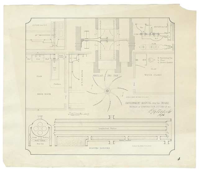 [Government Hospital for the Insane (Saint Elizabeths Hospital), Washington, D.C. Boiler house. Heating boiler, ventilating fan, bathroom, and water closet. Plans, elevations, and sections] / Tho. U. Walter Archt.