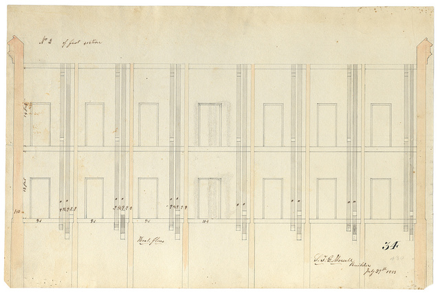 "[Government Hospital for the Insane (Saint Elizabeths Hospital), Washington, D.C. Center Building. Section showing heat flues (""No. 2 of first section"")] / S. T. G. Morsell, Builder, July 29th, 1853."