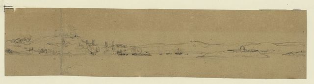 Halifax Nova Scotia town & shipping dressed with flags H.M. birthday 1853