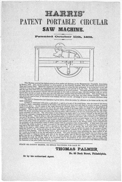 Harris' patent portable circular saw machine. Patented October 11th, 1853 ... State or County rights, or single machines for sale by Thomas Palmer. No. 83 Dock Street, Philadelphia.