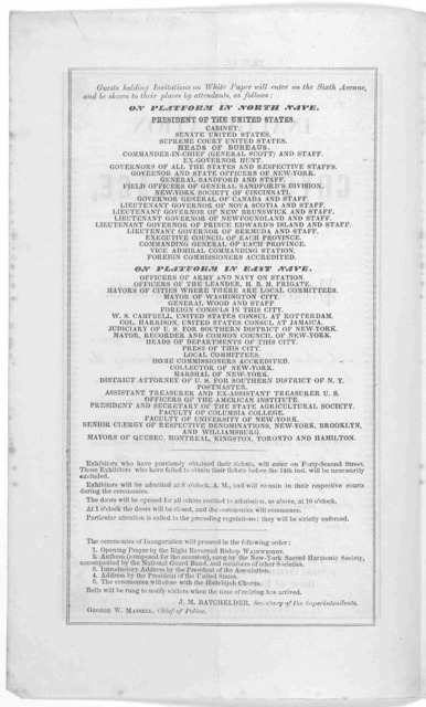 Inauguration of the Crystal Palace, on the 14th July, 1853. Programme of arrangements. [New York] R. C. Root & Anthony, stationers and printers. [1853].
