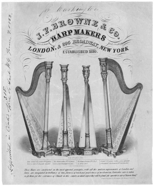 J. F. Browne & Co. harpmakers. [Advertisement] New York. Drawn & engraved by W. Thompson, 169 William St. [c. 1853].
