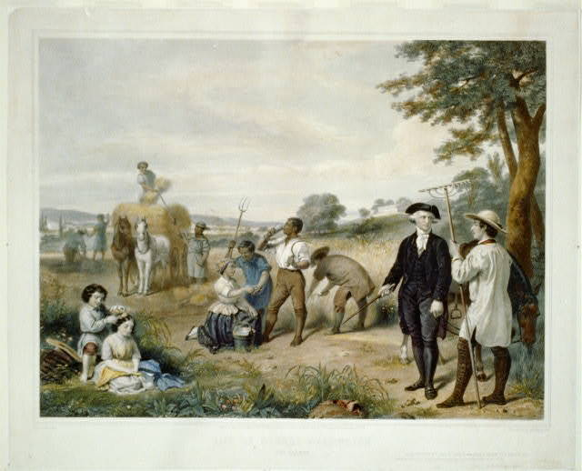 Life of George Washington--The farmer / painted by Stearns ; lith. by Régnier, imp. Lemercier, Paris.