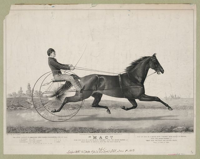 """Mac"": June 28th 1853 in a match with ""Tacony"" over the union course L.I. mile heats in harness, won the two first heats in 2:28-2:29"
